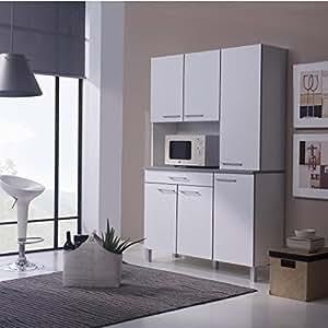 AGUEDA Buffet de cuisine 120 cm mélaminé blanc