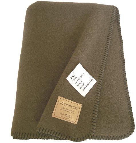 STEINBECK Nougat braune Wolldecke, Decke aus Schurwolle 130x180cm, ca 950g, 3-4mm dick, aus Deutschland, umkettelt (Braune Wolldecke, Die)