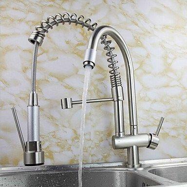 CC Brossé robinet haute pression ressort Chrome Finish tout cuivre Double orifice de sortie eau