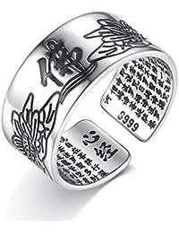 Weiwei Uomini anello anelli Creativa Retro Sutra Tibetano del corazón Anillo Bronce Hombres y Mujeres General