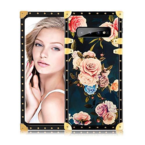 Fusicase für Galaxy S10 Square Hülle Blume Case Romantische Rose Muster Hülle für Samsung Galaxy S10 Square Case mit TPU Bumper Stoßfest Case für Galaxy S10 Rose, Galaxy S10, Rose Square Hülle Case