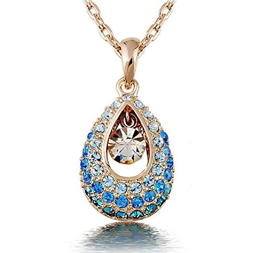 TR.OD Angel Tears Crystal Rhinestone Water Droplets Teardrop Pendant Long Chain Wedding Necklace Jewelry Blue