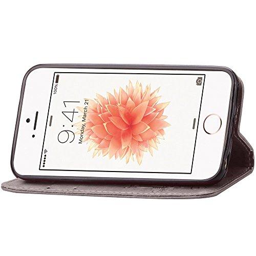 Apple iPhone 5C Wallet Case - Felfy Luxe Bookstyle Quatre Feuilles Motif Flip-style Magnetic Closure PU Cuir Étui Portefeuille Housse Portefeuille Relief Coque Housse Swag Case Apple iPhone 5C Coquill gris