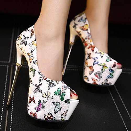 GS~LY Pesce farfalla femminile superficiale scarpe piattaforma bocca tacchi a spillo Black
