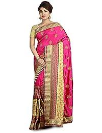 9e8bb9340f Ambition Women's Bhagalpuri Raw Silk Saree with Blouse Piece, Free Size  Deep Rani