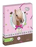 Herlitz 10530012cartella portadocumenti A4con 2elastici, Pretty pets cane, dorso 4cm rücken 4 cm cavallo
