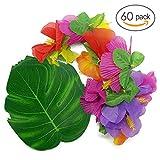 60 pieces fournitures de décoration de fête tropicale. Mélanger les types de feuilles tropicales combinaison de fleurs artificielles hawaïennes, faire de votre invité se sentir comme dans un paradis tropical.  Caractéristiques: - Matériel: plastique ...