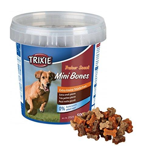 TRIXIE Soft Snack/Trainer Snack in verschließbarer Kunststoffdose für Hunde + BALL Gratis (Trainer Snack Mini Bones, 500 g)
