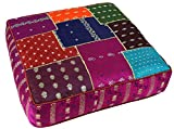 Guru-Shop Orientalisches Eckiges Patchwork Kissen 40 cm, Sitzkissen, Bodenkissen mit Baumwollfüllung - Lila/bunt, Mehrfarbig, Synthetisch, Zierkissen, Dekokissen, Sofakissen