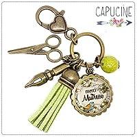 Porte clés - bijou de sac Maîtresse - Bronze et cabochon verre illustré Merci Maîtresse - idée cadeau maîtresse, cadeau fin d'année scolaire