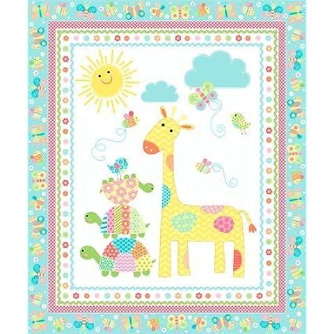 Nursery–Tessuto a righe Ric Rac–0,5metri–nor28–by Northcott–100% cotone Giraffe Nursery -