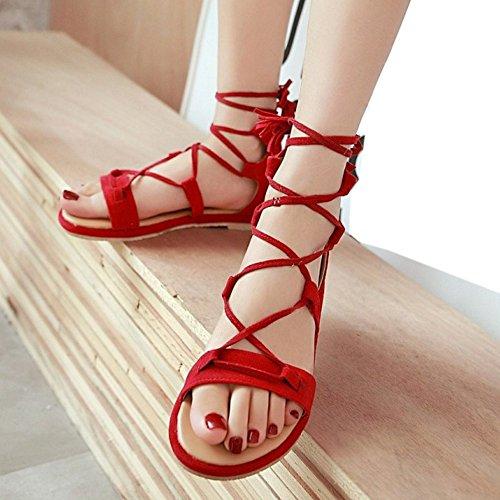 TAOFFEN Classique Gladiateur Ete Sandales Lacets Plat Plage Chaussures Rouge