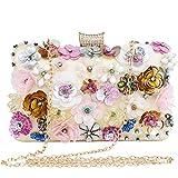 LONGBLE Blumen Damen Clutch Glitzer Strass Abendtasche Handtasche kleine mit Elegante 3D rosa+weiß+gold Blumen und Straßsteine Deko Umhängetasche Damentasche Tasche für Hochzeit Party
