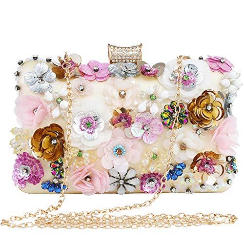 LONGBLE Blumen Damen Clutch Glitzer Strass Abendtasche Handtasche kleine mit Elegante 3D rosa+weiß+gold Blumen und Straßsteine Deko Umhängetasche Damentasche Tasche für Hochzeit Party (Rosa Und Gold Handtasche)