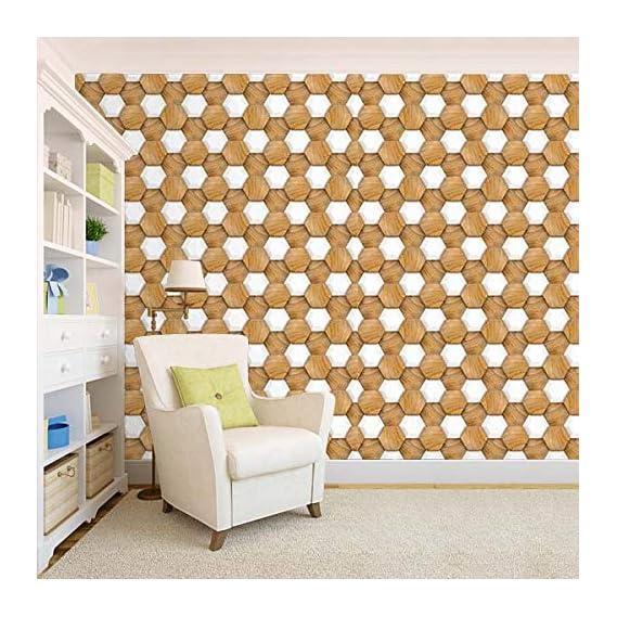 100Yellow? 3D Wooden Pattern Self Adhesive Peel & Stick Waterproof Wallpaper-44 Sqft