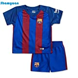 #5: FC Barcelona Jersey Set - T Shirt and Shorts for Kids / Youth – Boys & Girls. Replica of Original Team Jersey of European Football Club FCB's Home Jersey. La Liga season 2016 – 2017. Excellent Dri-Fit Imported Quality Sportswear. Team Barca, Messi, Neymar, Suarez, Inestia
