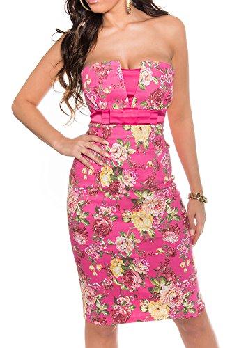 Minikleid Etui Pencil Partykleid Bandeau mit Blumen Cocktailkleid 34-36-38 Pink