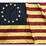 ANLEY Vintage Style Tee gebeizt Betsy Ross Flagge 3x5 Fuß Nylon - Gestickte Sterne und genähte Streifen - 4 Reihen Verriegelungsstickerei - Antiquierte frühe USA Bannerflaggen mit Messingösen 3 x 5 Ft