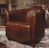 Phoenixarts Echtleder Vintage Sessel Ledersessel Braun Design Lounge Clubsessel Sofa Möbel 443