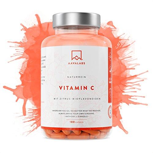 Natürliche Vitamin C Kapseln [ 684 mg ] 180 Stück von Aava Labs - Hohe Bioverfügbarkeit mit Zitrusbioflavonoiden - Hochdosiert - Aus Acerola, Hagebutten, und Camu-Camu Extrakt - Nordische Reinheit: Ohne unerwünschte Zusätze - Laborgeprüft und 100% vegan - In Europa hergestellt.