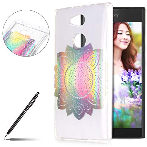t Hülle Sony Xperia L2 Silikon Schutzhülle Glänzend Glitzer Kristall Durchsichtige Handy Schutzhülle Ultra Dünn TPU Handy Tasche Schale Etui Transparent Bumper,Mandala Blumen ()