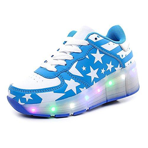 B·L·I Kinder Child Junge Mädchen Boy Girl Led Schuhe Sneaker Mit Rollen 7 Farbe Farbwechsel Wheels Skate Schuhe Blau+Weiß