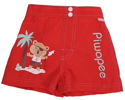 Piwapee - Short avec couche de bain anti fuite Rouge Ourson