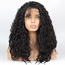 vvBing Hair Wig Synthetic Lace Front Wigs Curly Hair Heat Resistant Fibers Loose Curly Lace Front Wigs Glueless With Baby Hair Color Drak Brown 16inch
