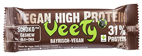 Veety - Vegan High Protein Bar 31% Schoko Pur- Veganer Protein Riegel - Superfood (Goji, Quinoa, Chia) Reis Erbse Protein Vegan Natural Raw Roh Made in Bavaria, 48g