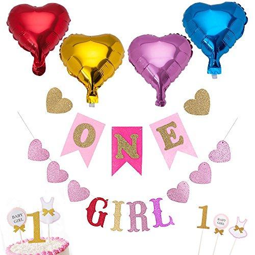 stag 4 Folienballons + 1 ONE Banner + 1 GIRL Banner + 3 Kuchen Topper Set Party Zubehör Dekorationen Baby Happy Birthday Luftballons Bunt Flagge Pink Herz Gold Muster Wimpelkette Deko für Mädchen Geburtstagsfeier Party LONGBLE (GIRL) (Kleinkind-mädchen-geburtstags-party)