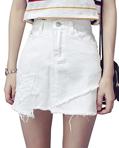 Used, Denim Skirt Women's Jeans Frayed Hem A Line Skirt White for sale  Delivered anywhere in UK