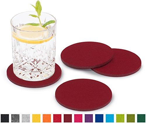 FILU Filzuntersetzer rund 8er Pack einfarbig (Farbe wählbar) dunkelrot/Bordeaux - Untersetzer aus Filz für Tisch und Bar als Glasuntersetzer/Getränkeuntersetzer für Glas und Gläser
