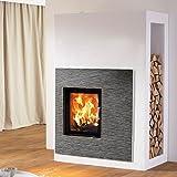 AUSTROFLAMM Keramik Basalt Dunkel mit Holzlagerfach, für Design-Kamin Kera Xtra 45