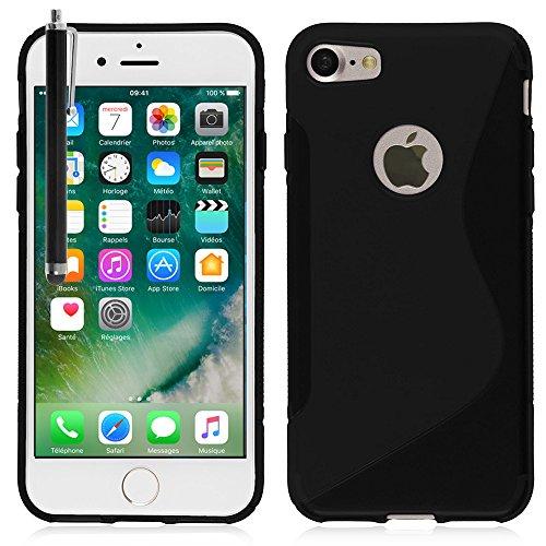 """VComp-Shop® S-Line TPU Silikon Handy Schutzhülle für Apple iPhone 7 4.7"""" + Mini Eingabestift - SCHWARZ SCHWARZ + Großer Eingabestift"""