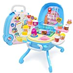 Sajani Kids Ice Cream Playset (40pcs) in Foldable Stool, Pretend Play Toy Gift for Boys Girls