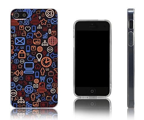 Lilware Imprint Étui Flexible En Gel TPU Sangle Portable Incluse, Radiant Carbon Black, Apple iPhone Se / 5 / 5S Tehnology