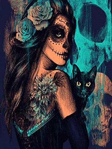 s für Erwachsene 5D DIY Halloween Hexe mit schwarzer Katze Full Drill Kristall Strass Stickerei Kreuzstich Kunst Craft Canvas Wand Decor 30,5 x 40,6 cm ()