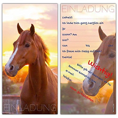 12er Karten-Set Pferd Einladungskarten - liebevoll gestaltete Einladungen zum Geburtstag für Mädchen Jungen Kindergeburtstag Party von BREITENWERK®