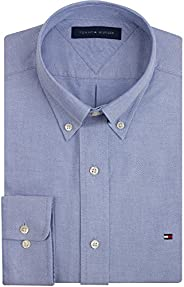 Tommy Hilfiger Slim Fit Long Sleeve Dress Shirts For Men- Small, Blue