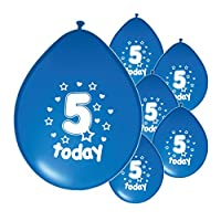 Partyangels 10 x 5TH BIRTHDAY BOY / AGE 5 BOY BLUE PACK BIRTHDAY BALLOONS (PA)
