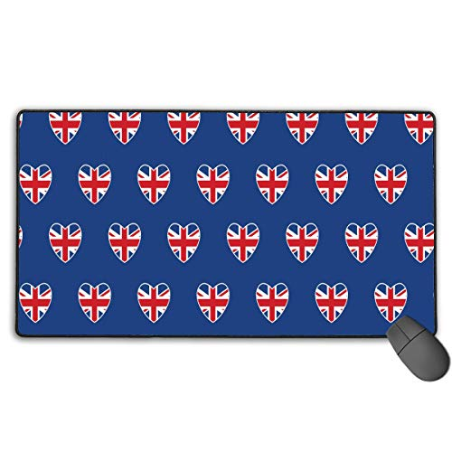 Large Gaming Mouse Pad/Mat, British Flag Hearts Union Jack Blue Mousepad with Non-Slip Rubber Base for Computers, Durable Stitched Edges Unisex1 Köche Edge