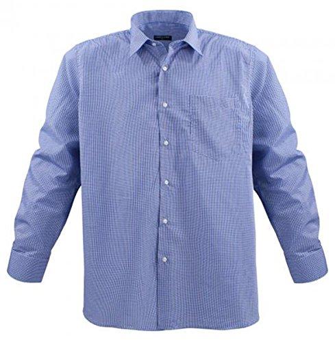Übergrössen !!! Schickes Herrenhemd LAVECCHIA HLA17-07 Blau kariert Jeansblau-Weiß kariert