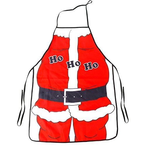 TRIXES Grembiule da Cucina Natalizio Stile Babbo Natale con Scritta Ho Ho Ho (Grembiule Natale)
