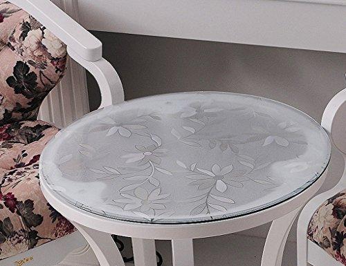 Nappe Ronde En Verre Souple PVC Transparent Givré Étanche Table Tapis Nappe De Table De Mat En Plastique Nappe ( Couleur : Thickness -1.5mm , taille : Diameter 135 cm )