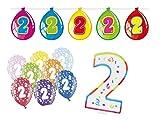 Partydeko Set 2.Geburtstag Kindergeburtstag 8 teilig mit XXL Tortenkerze Zahl 2 Mädchen Junge Girlande Luftballon