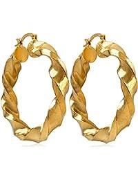 81dc6ffdc34f vonchic par tono de oro tamaño grande trenzado pendientes de aro aros de  Custume para mujer