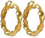 vonchic par tono de oro tamaño grande trenzado pendientes de aro aros de Custume para mujer joyería