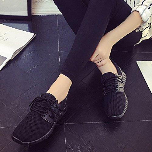 XAI Scarpe Europee e Americane Primavera e Autunno Scarpe Rosse Mesh Traspirante Scarpe Casual Scarpe Sportive in Pizzo Piatto Nero