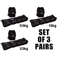 Set Of 3 Pairs Of Ankle Weights by FXR Sports - 0.5kg 1.5kg & 2.5kg - Resistance Straps For Strength Training