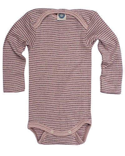 Cosilana, Baby Body Langarm,45% KBA Baumwolle, 35% kbT Wolle, 20% Seide (50/56, Pink/Pflaume/Natur)